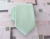 Mens Tie. Dusty Mint Necktie JCrew Inspired Dusty Shale Green Narrow Tie With Matching Pocket Square Option