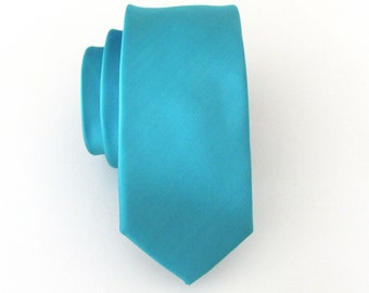Mens Ties Necktie Teal Blue Light Turquoise Skinny Tie With Matching Pocket Square Option