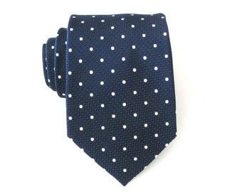 Mens Tie. Navy Blue White Dot Mens Necktie with Matching Pocket Square Option