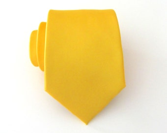 Yellow Tie. Mens Tie. Poppy Yellow Mens Tie