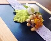 Emma Woodland Headband, Lace, White, Yellow, Floral, Leaves, Berries, Boho,  Bridal, Wedding