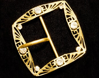 Large Edwardian Downton Era,Square Gold Metal Belt Buckle ,Fancy Open Scrollwork With Rhinestone Accents, Accessory 1910-1920