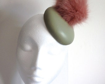 Mint Leather Cocktail Hat Green Mini Fascinator Millinery