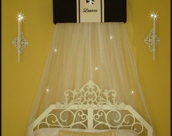 SALE Bed Crib Crown Canopy Teester Classic Black White Princess Embroidered Personalized