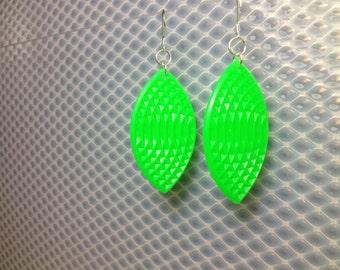 Oval earrings in fluorescent green