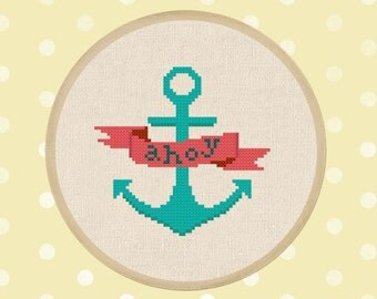 Ahoy Banner. Anchor. Nautical Modern Simple Cute Counted Cross Stitch PDF Pattern. Instant Download