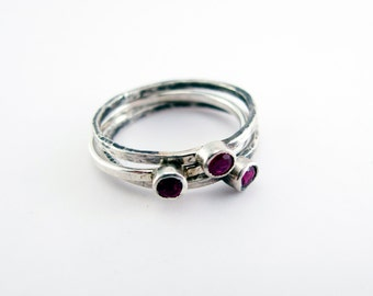Ruby Birthstone Sterling Silver Stacking Trinket Ring