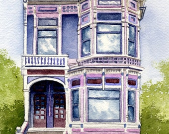 PAINTED LADY HOUSES Set Of Two Art Prints Signed by Watercolor Artist D J Rogers