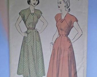 Vintage 40s Flared Skirt Dress Pattern 34