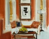 Mid Century Modern Interior Furniture Modern Art Interior Design PASSION FOR RED Fine Art Print of My Original Painting