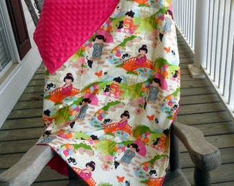 Large Aoi Has 2 Sisters Asian and Hot Pink Minky Dot Blanket CHOICE OF MINKY