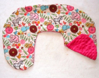 Girly Safari Party Animals and Deep Pink Minky Dot Nursing Pillow Cover Fits Boppy