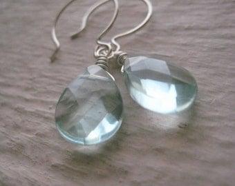 Aqua Quartz Earrings- Sterling Silver, Wire Wrapped, Quartz