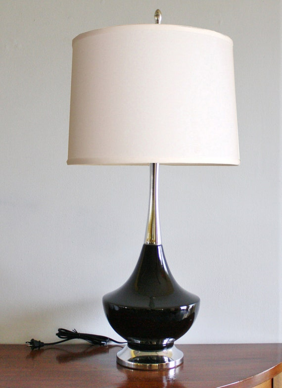 Ceramic table lamp etsy tall mid century modern black ceramic table lamp