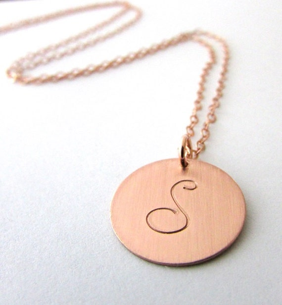 Rose gold letter necklace rose gold initial charm necklace for Rose gold letter charms