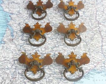 SALE! 6 vintage curvy distressed brass metal pull handles