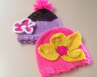 2 Baby Girl  Hats for 12 Dollars Newborn  Hats Size 3 mo-CLEARANCE