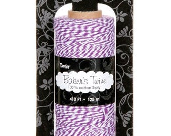 Baker's Twine PURPLE WHITE 410 Ft Cotton 2-ply Gift Wrapping Necklaces Scrapbooking