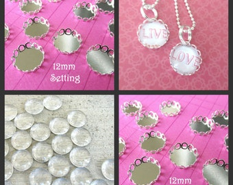 DIY Combo Kit 20 Silver Plated  Cabochon Settings + 20 12mm Glass Domes Bezel Cup  12mm  Scallop Edge