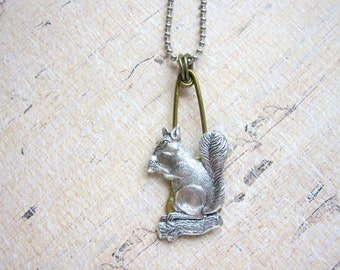 Squirrel Necklace, Silver Squirrel, Woodland Animal, Forest Animal, Gifts for Teens, Victorian, Long, Upcycled, Recycled Laundry Pin, Brass