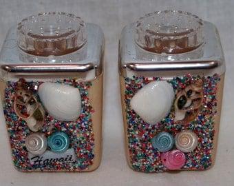 Souvenir Hawaii Shell Glitter salt and pepper shakers
