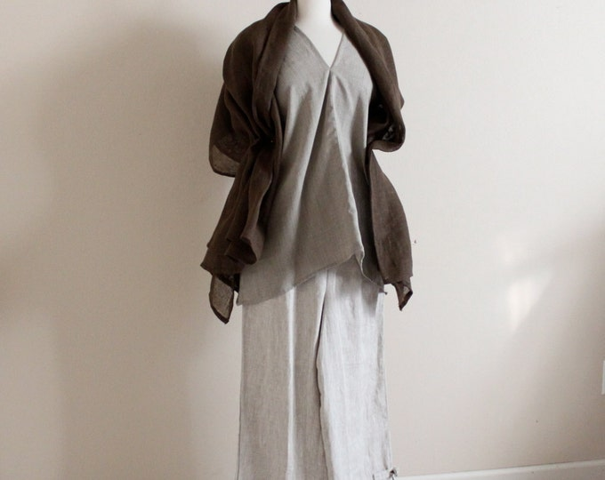 earthy tone linen outfit custom made petite plus size all sizes / handmade linen outfit / natural linen pants. top / brown linen shawl scarf