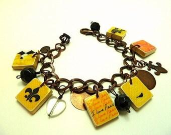 I Love Paris Jadore Scrabble Tile Charm Bracelet
