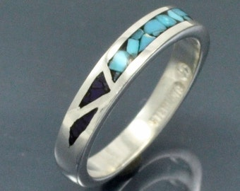 Sterling Silver Mosaic Inlay Pinky Ring