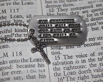 Romans 10:13 Dog Tag on Ball Chain with Cross Charm FREE SHIPPING