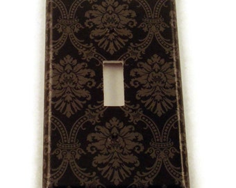 Switch Plate Light Switch Cover Wall Decor Switchplate  in  Black and Gray Damask (214S)