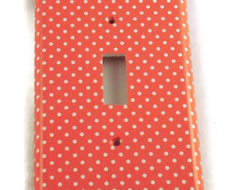 Light Switch Plate Single Light Switch Cover Wall Decor Kitchen Switchplate in  Tangerine Dot (106S)