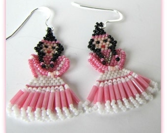 Pink Princess Earrings, Beadwoven  Earrings,  Seed Beaded Dangle  Earrings,.925 Sterling Silver French Earwires Item #1025