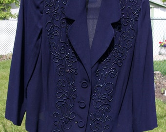 Vintage 1940s Beaded Jacket Navy Blue Carnival Glass Beading