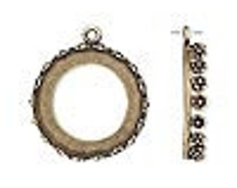One Antiqued Brass Round Bezel, 22mm with a flower decorated edge,