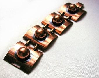 Vintage Tortolani Copper Link Bracelet, Chunky 70s Copper Bracelet, Tortolani Crislu 70s Bracelet, Heavy Modernist Bracelet