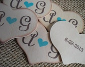 Wedding Favor Tags Personalized Wood Heart with Initials and Date - Set of 10 - Item 1551