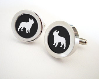 French Bulldog Silhouette Cufflinks for Him - Mod Dog Custom Cuff Links in your choice of color