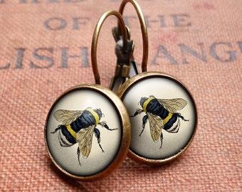 Vintage Bee Leverback Earrings (ER04)