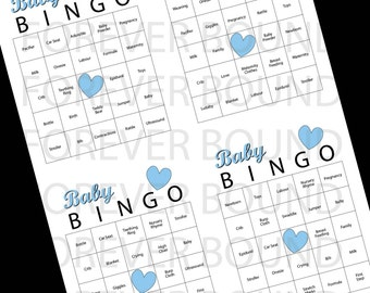 Blue Baby Bingo-Print your own PDF INSTANT DOWNLOAD
