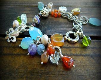 The Collector, Western Cowgirl Southwestern Boho Multi Gemstone Charm Bracelet