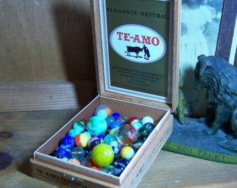 Vintage MarbleLot Pre 1970 in Wooden Teamo Cigar Box