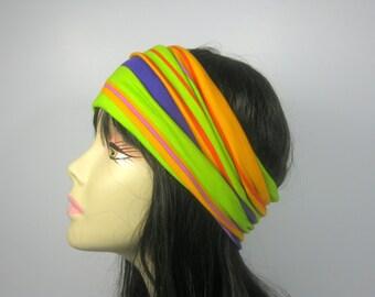 Head Wrap Green Orange Blue Striped Head Wrap Hair Scarf Headband Summer Head Wrap Wide Headband Yoga Head Wraps Head Wraps Turban Head Wrap