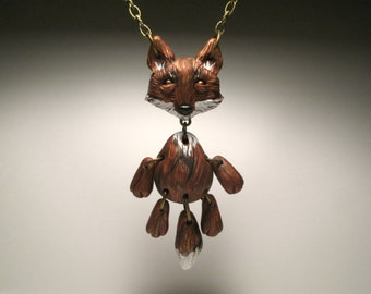 Polymer Clay Fox Necklace - Animal Art Doll