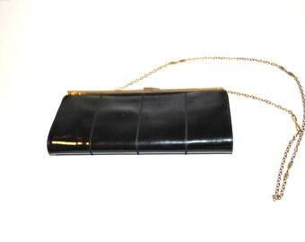 1950s eelskin clutch / vintage 50s BLACK patent leather EEL SKIN handbag