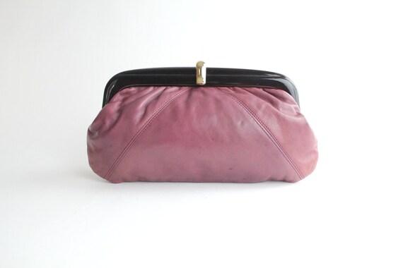 70s leather clutch / vintage lucite frame calfskin bag