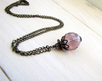 Amethist Crystal Ball Necklace Crystal Pendant Purple Crystal Charm Winter Necklace