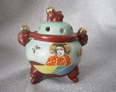 Oriental Incense Burner - Foo Dogs - Japan Moriage Porcelain