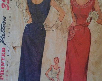Vintage 50s Scoop Neck Button Shoulder Sheath Wiggle Dress Sewing Pattern Simplicity 3608 B32