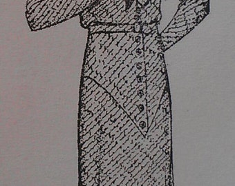 Vintage 30s Jabot Button Trimmed Pleated Frock Dress Sewing REPRO Pattern 963 Bust 42