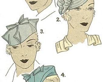 Vintage 30s Sculptural Chapeaux Hat Millinery Sewing Pattern 811B 22 1/2